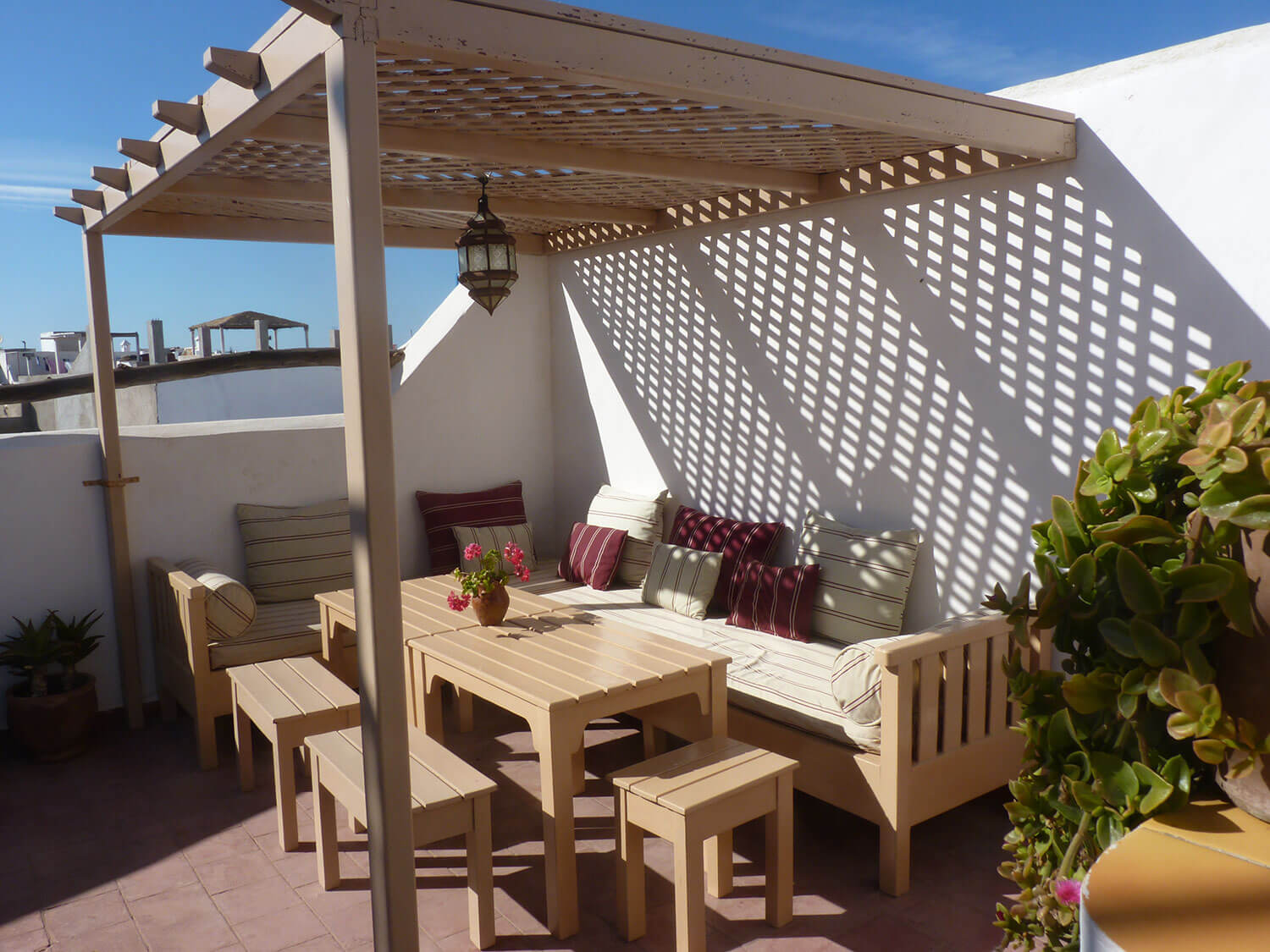 The rooftop chillout area at Villa Garance - a riad in the  heart of Essaouira
